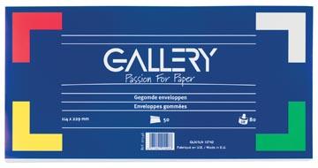 Gallery enveloppes, ft 114 x 229 mm, gommées, paquet de 50 pièces