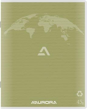 Aurora Writing 60 cahier de brouillon en papier recyclé, 200 pages, ligné, vert mousse