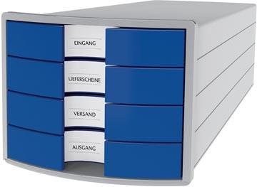 Han bloc à tiroirs Impuls, tiroirs fermés, gris clair/bleu