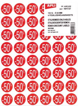 Agipa Etiquettes remises -50%, rouge, paquet de 192 pièces, amovible