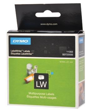 Dymo étiquettes LabelWriter, ft 19 x 51 mm, amovible, blanc, 500 étiquettes