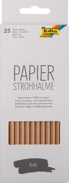 Folia pailles en papier, boîte distributrice de 25 pièces, nature