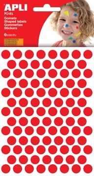 Apli Kids gommettes, cercle diamètre 10,5 mm, pochette de 528 pièces, rouge