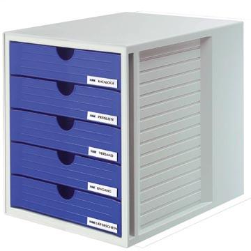 Han bloc à tiroirs avec tiroirs fermés, bleu