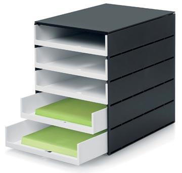 Styro bloc à tiroirs Styroval Pro avec 5 tiroirs ouverts, noir/blanc