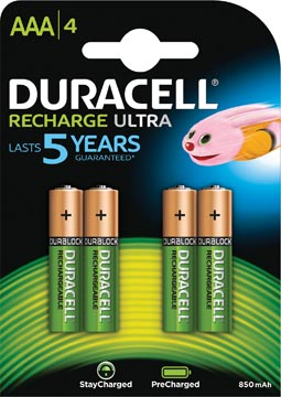 Duracell piles rechargeable Ultra, AAA, blister 4 pièces