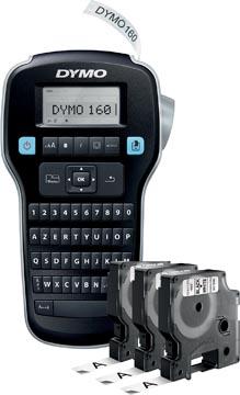 Dymo LabelManager 160 Value Pack: 3 x D1 tape, noir sur blanc, 12 mm + 1 x LabelManager 160P, qwerty