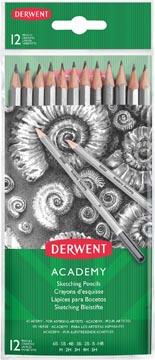 Derwent crayons graphite Academy , paquet de 12 pièces: 6B-5B-4B-3B-2B-B-HB-H-2H-3H-4H-5H