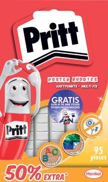 Pritt pâte adhésive Poster Buddies 50% gratuit, blister de 95 pièces, avec autocollants gratuits