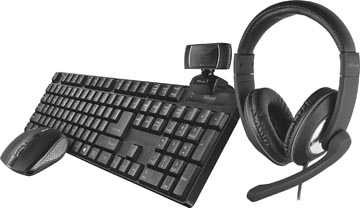 Trust Qoby 4-in-1 Home Office Set avec webcam, micro-casque, clavier (azerty) et souris
