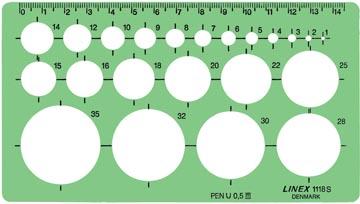 Linex gabarit de cercle 1 - 35 mm, contient 22 cercles et repères d'alignement