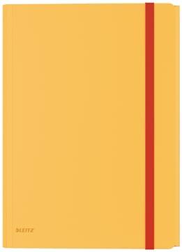 Leitz Cosy chemisa à élastiques à 3 rabats, avec pochette à fermeture à bouton-pression, en PP, jaune