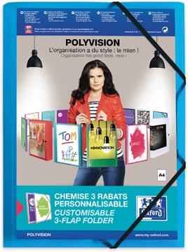 OXFORD Polyvision farde à rabats et élastiques, format A4, en PP, transparent bleu