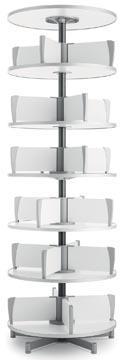 Moll colonne rotative Multifile, 6 étages, hauteur 231 cm, jusq'à 144 classeurs, blanc