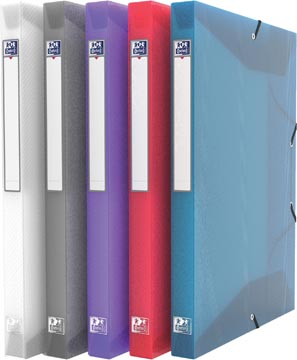 OXFORD Hawaï boîte de classement, format A4, en PP, dos de 2,5 cm, couleurs assorties transparents