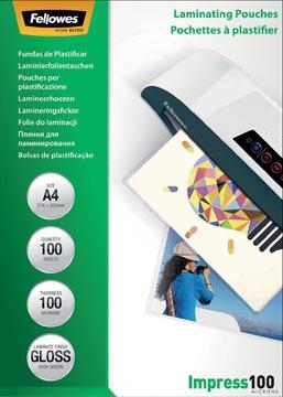 Fellowes pochette à plastifier Impress100, ft A4, 200 microns (2 x 100 microns), paquet de 100 pièces