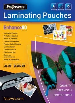 Fellowes pochette à plastifier, ft 210 x 297 mm, 160 microns (2 x 80 microns), brillante, paquet de 25 pi