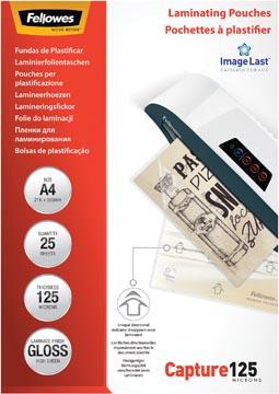 Fellowes pochette à plastifier Capture125, ft A4, 250 microns (2 x 125 microns), paquet de 25 pièces