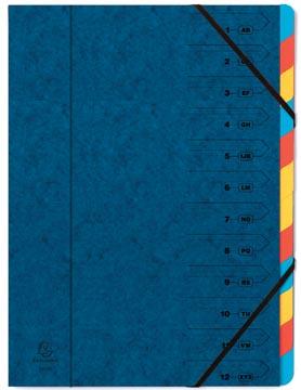 Exacompte Trieur-classeur 12 compartiments, bleu