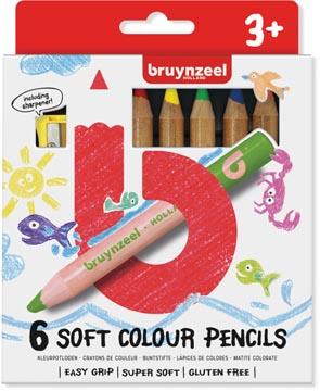 Bruynzeel Kids crayons de couleur douces, set de 6 pièces en couleurs assorties
