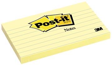Post-it Notes, ft 76 x 127 mm, jaune, ligné, bloc de 100 feuilles