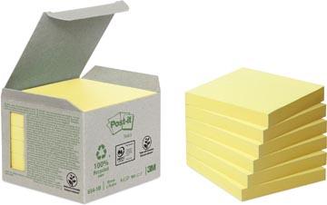 Post-it Notes récyclé, ft 76 x 76 mm, jaune, 100 feuilles, paquet de 6 blocs