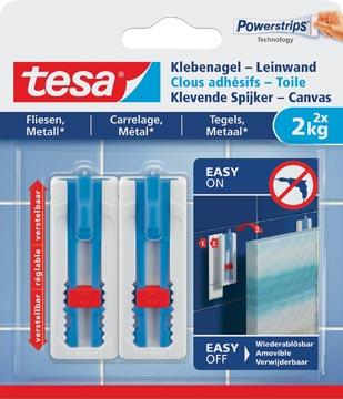 Tesa Clou adhésif Toile, supporte 2 kg, carreaux et métal, blanc, 2 clous et 3 languettes
