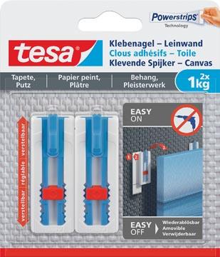 Tesa Clou adhésif Toile, supporte 1 kg, papier peint et plâtre, blanc, 2 clous et 3 languettes