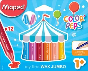 Maped crayon à cire Color'Peps Jumbo Early Age, boîte de 12 pièces en couleurs assorties