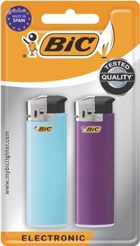 BIC Maxi briquets electroniques, couleurs assoties, blister de 2 pièces