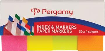 Pergamy index & marque-pages en papier, paquet de 4 x 50 feuilles, couleurs néon assorties