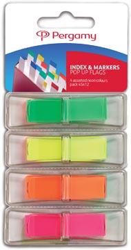 Pergamy index ft 45 x 12 mm, blister de 4 couleurs assorties neon, avec dispenseur