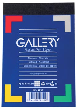Gallery carnet de notes, ft A7, quadrillé 5 mm, 70 g/m²