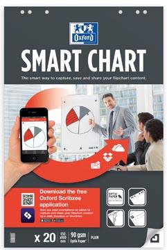 Oxford Smart Chart bloc de conférence, ft 65 x 98 cm, paquet de 20 feuilles, blanco