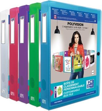 OXFORD Polyvision boîte de classement personnalisable, format A4, en PP, dos de 4 cm, couleurs assorties