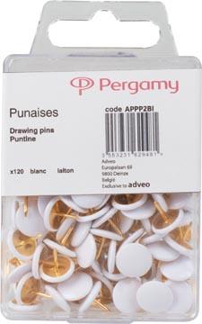 Pergamy punaises, blanc, boîte de 120 pièces