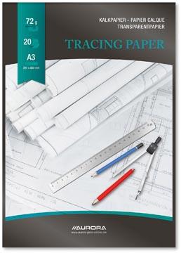 Aurora Raphaël papier calque, ft A3, bloc de 20 feuilles