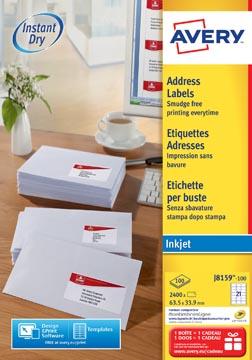 Avery Etiquettes blanches jet d'encre QuickDry boîte de 100 feuilles ft 63,5 x 33,9 mm (l x h), 2.400 pcs