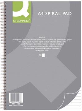 Q-Connect bloc collège, ft A4 , ligné, 80 feuilles