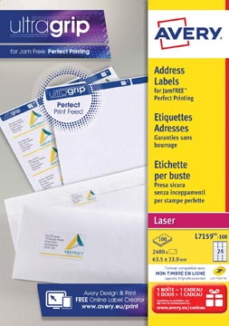 Avery L7159, Etiquettes adresses, Laser, Ultragrip, blanches, 100 pages, 24 per page, 63,5 x 33,9 mm