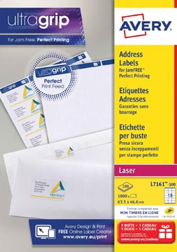 Avery L7161, Etiquettes adresses, Laser, Ultragrip, blanches, 100 pages, 18 per page, 63,5 x 46,6 mm