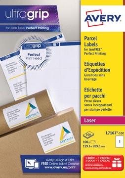 Avery L7167, Etiquettes d'expédition, Laser, Ultragrip, blanches, 100 pages, 1 per page, 199,6 x 289,1 mm