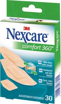 3M pansement Nexcare Comfort 360° 3 formats, paquet de 30 pièces