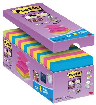 Post-it Super Sticky Z-Notes, ft 76 x 76 mm, couleurs assorties, 90 feuilles, paquet de 14 +2 gratuit
