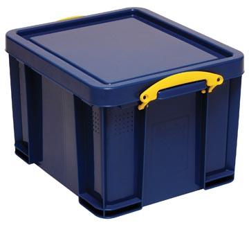 Really Useful Box boîte de rangement 35 litre, bleu foncé avec poignées jaunes