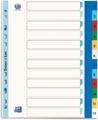 OXFORD intercalaires, format A4 maxi (pour pochettes), en PP coloré, 11 trous, jeu 1-12